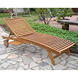 International Caravan TT-SL-032-STN-IC Furniture Piece Acacia Chaise Lounge with Pull Out Tray