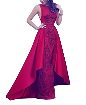 033a9d592fd Amazon.com  Fitty Lell Women s Red Prom Dresses with Satin Overskirt  Beading Applique Sheath Evening Dress  Clothing