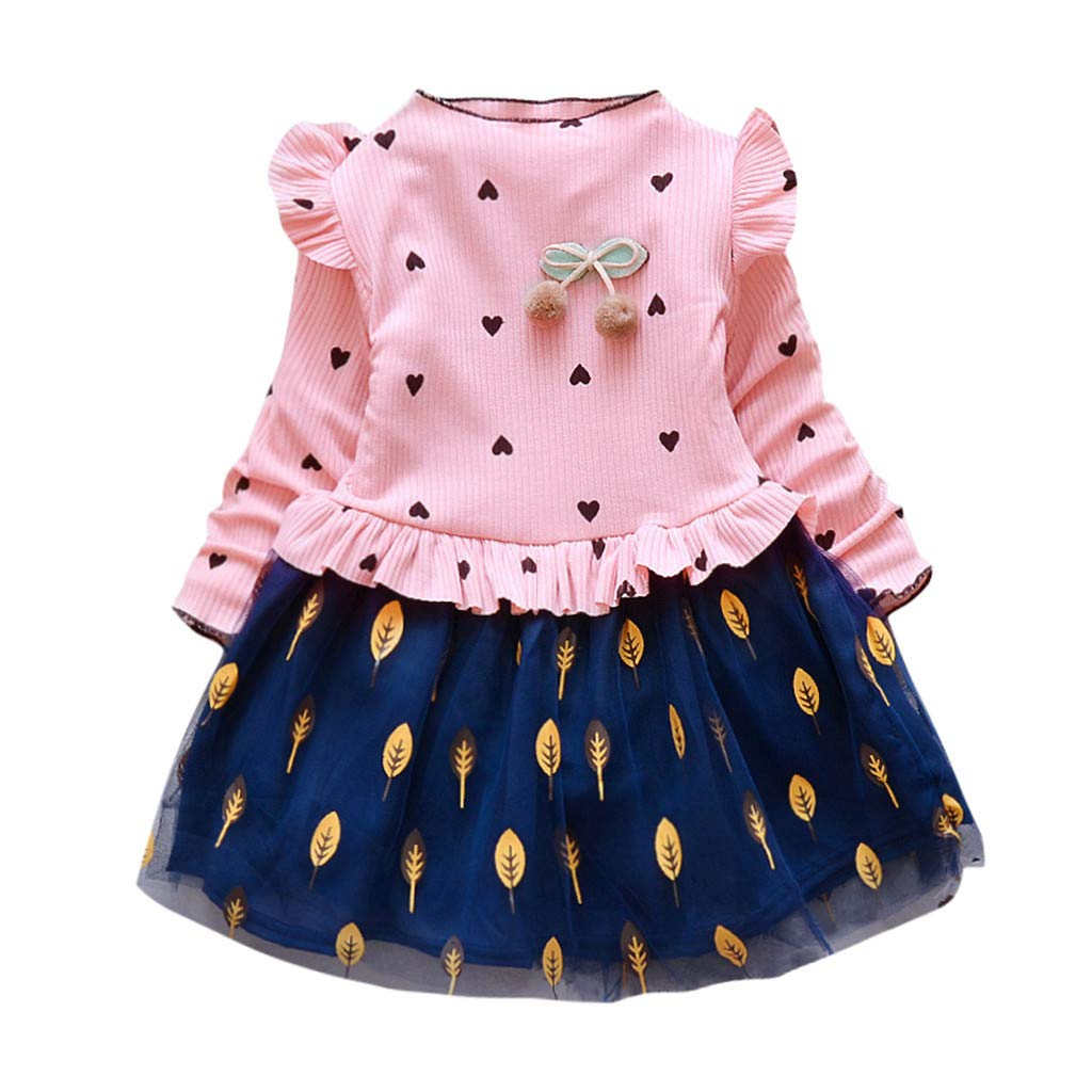 Fossen 1-5 A/ños Bebe Ni/ña Manga Larga Vestir de Bolsillo de Peluche Tops Camiseta de Fiesta Vestidos Ni/ña Oto/ño e Invierno