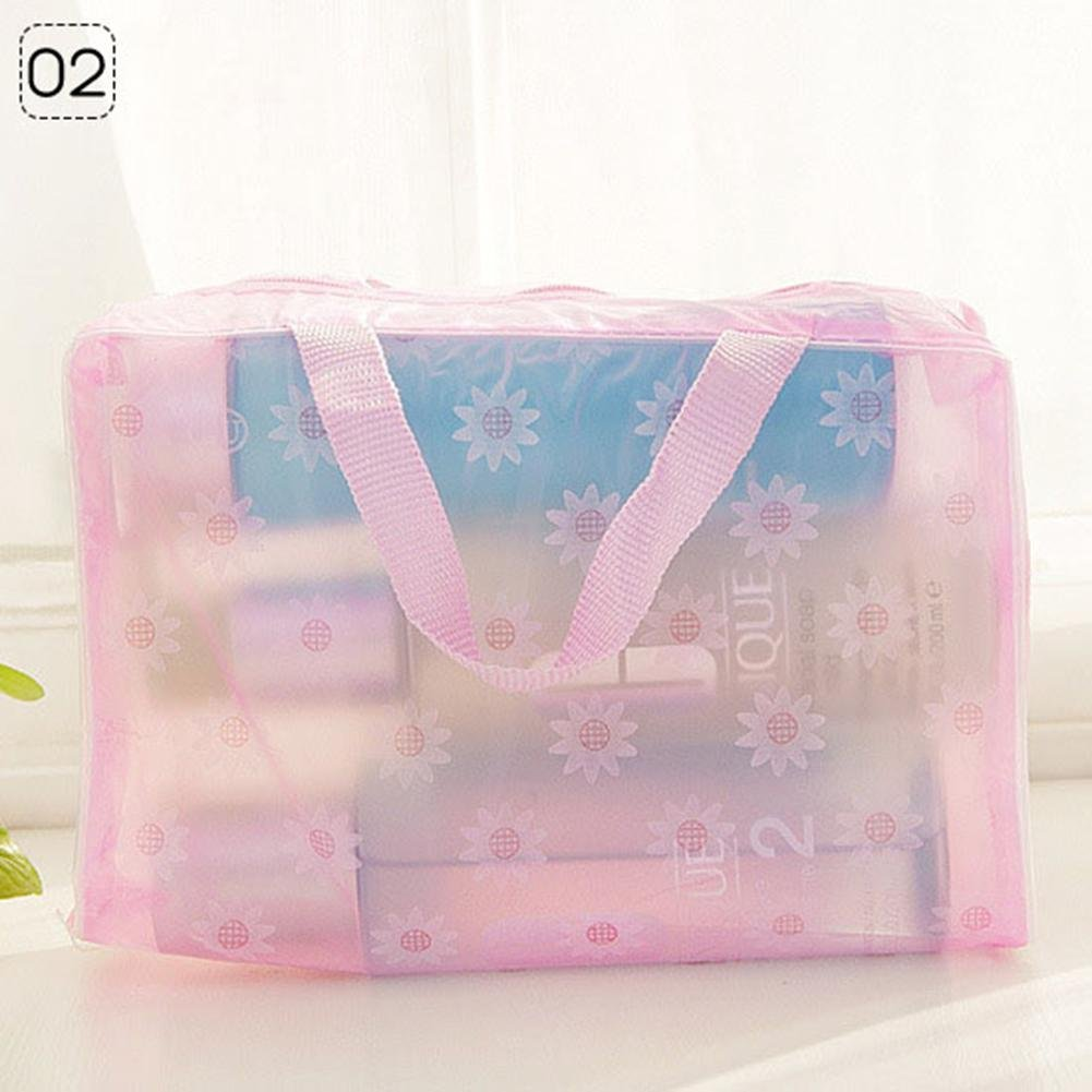 HITTIME Owner Portable Floral Print Transparent Waterproof Storage Bag Toiletry Bathing Pouch Blue