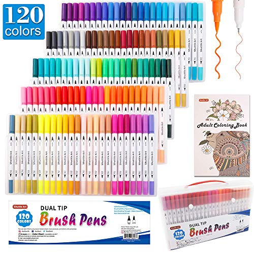 120 Colors Dual Tip Brush Art Marker Pens with 1 Coloring Book
