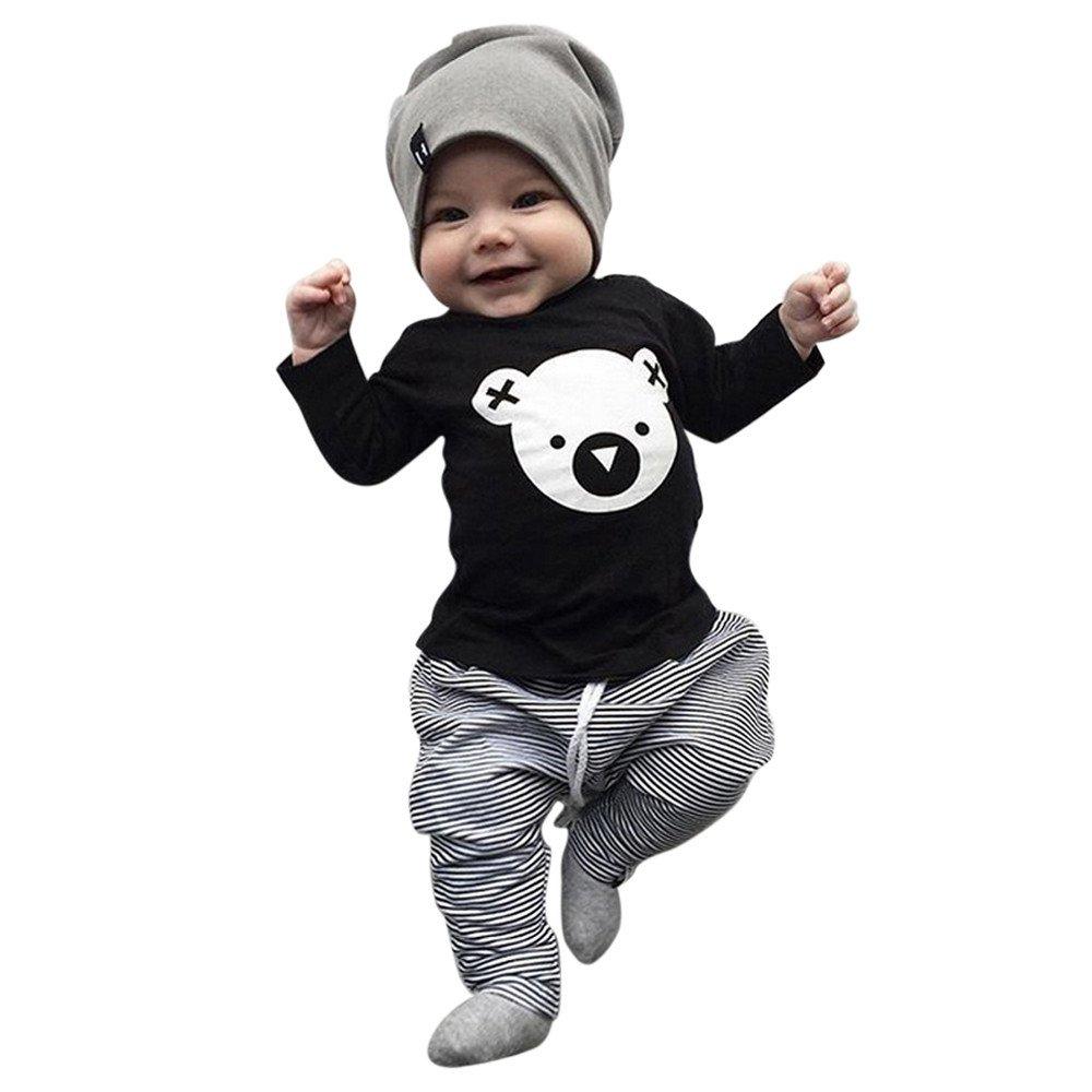 Pantal/óN A Rayas Conjunto De Dos Piezas Ni/ñO Peque/ñO Chicas para Ni/ñOs Rayas De Trajes PinkLu Camiseta De Manga Larga con Estampado De Koala De Dibujos Animados para Beb/éS