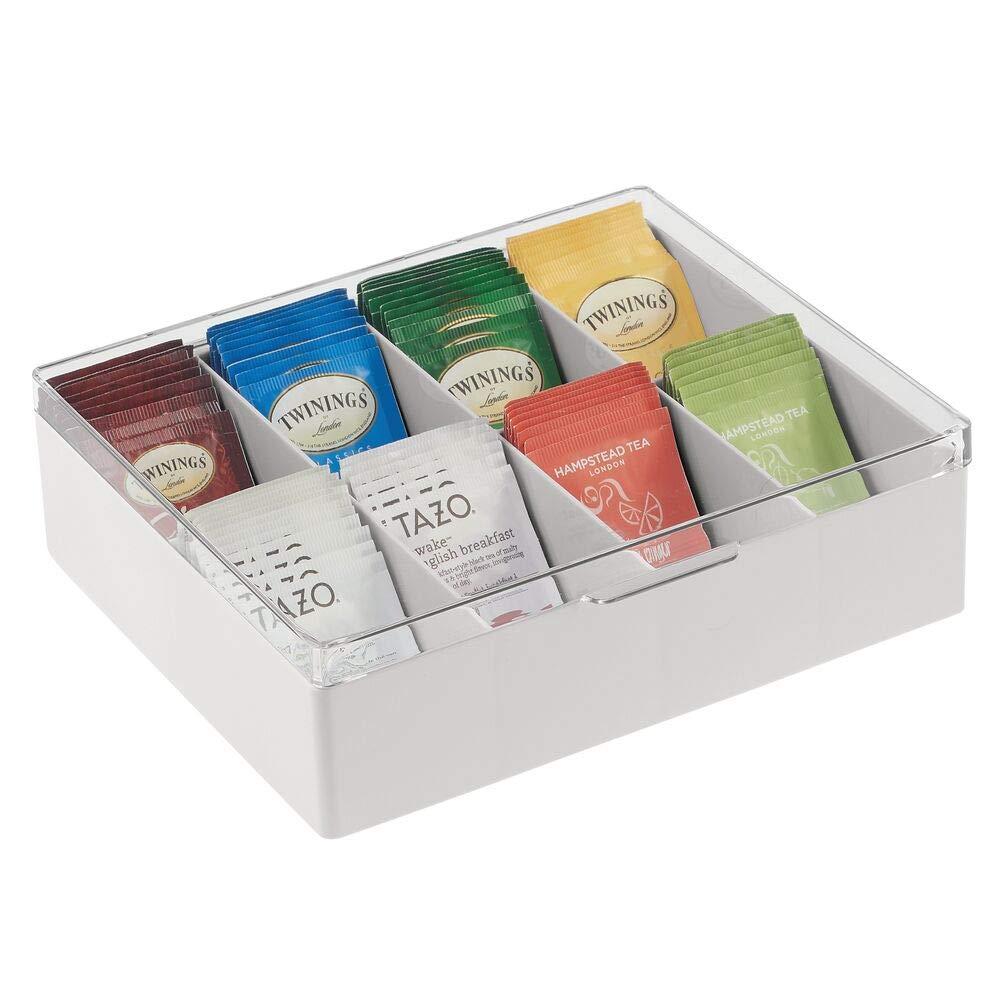 praktischer Kasten mit Deckel f/ür K/üche und Speisekammer ideal f/ür Tee Kaffee cremefarben Gew/ürze und andere Lebensmittel Aufbewahrungsbox mit 8 F/ächern mDesign K/üchen Organizer