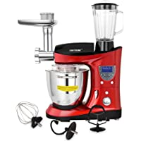 CHEFTRONIC Tilt-Head Multifunctional Stand Mixer 1000W Kitchen Electric Mixer, 7.4QT Cooking & Mixing Bowl, With Beaters, Meat Grinder, Sausage Stuffer and Juice Blender.
