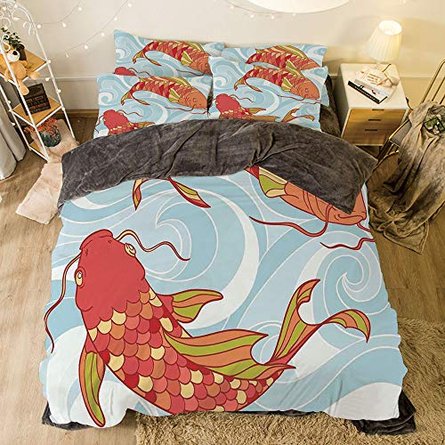 All Season Flannel Bedding Duvet Covers Sets for Girl Boy Kids 4-Piece Full for bed width 6.6ft Pattern by,Koi Fish,Hand Drawn Colorful Koi And Swirled Asian Sea Waves Japanese Oriental Art Design,B ()