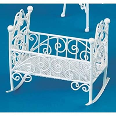 Vanity Fair Dolls House 1:12 Nursery Furniture White Wire Wrought Iron Rocking Cot Cradle: Toys & Games