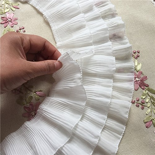 2 Yards 12cm Width 3-Layer Tiered Ruffle Pleated Chiffon Lace Fabric ()