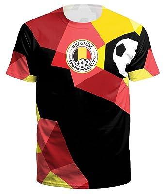 SIMYJOY Unisex 2018 World Cup T-Shirt Digital Print Football Fans Tee  Soccer Fans Shirt Sportswear for Men Women Teen Belgium S  Amazon.co.uk   Clothing 9bc72b887