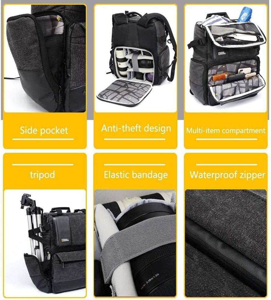 32 X 20 X 42CM Gray Exquisite Qingbaotong Large-Capacity Multi-Function Anti-Theft Camera Bag Professional SLR Camera Backpack Lens Tripod Accessories with Rain Cover