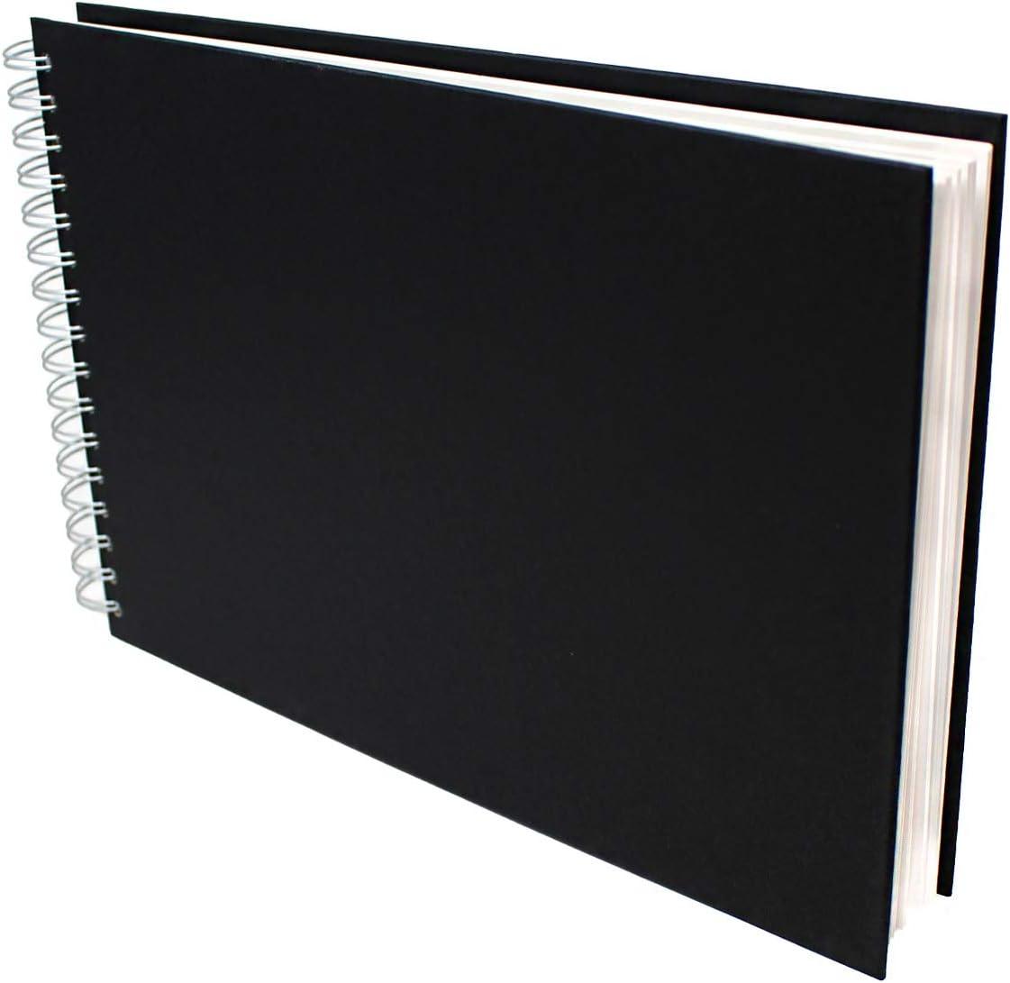 Black A4 Landscape Artway Watercolour Sketchbook 300gsm 35/% Cotton