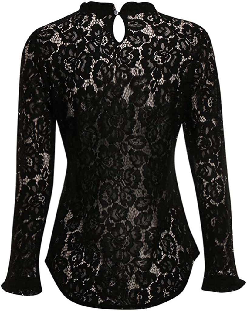VRTYOC - Camiseta de mujer de encaje con cuello alto de manga ...