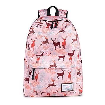 Moda Ciervos ImpresióN Mochilas para NiñAs Adolescentes Bolsas Escolares Bolsas De Viaje Casual Pink
