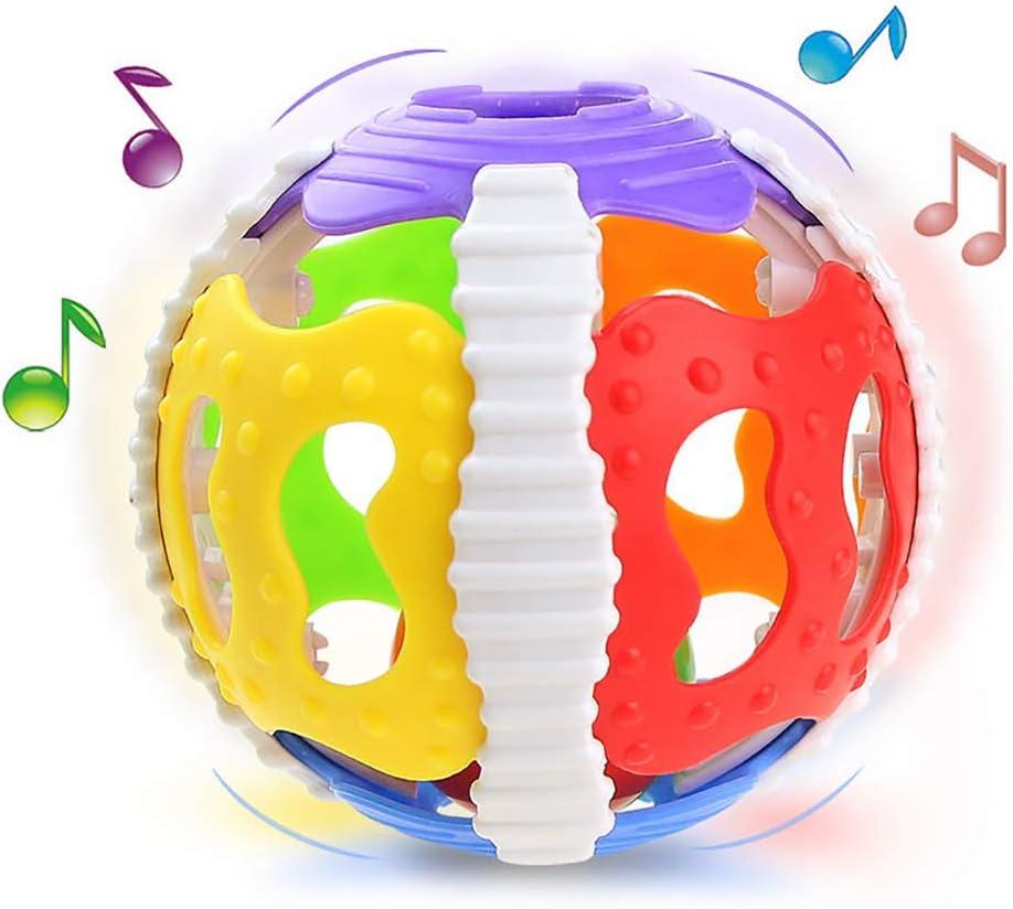 Regalo educativo del bebé de goma suave hueco Juguete Sonajero Mordedor bola para niños y niñas