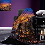 smallbeefly City Digital Printing Blanket Cape Town Panorama at Dawn South Africa Coastline Roads Architecture Twilight Summer Quilt Comforter Marigold Blue Pink