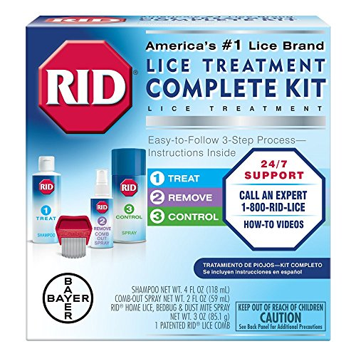 RID Lice Treatment Complete Kit, Includes 4 Fluid Ounces RID Lice Killing Shampoo, 2 Fluid Ounces Lice and Egg Comb-Out Spray, Lice Comb, and 3 Ounces RID Home Lice, Bedbug & ()