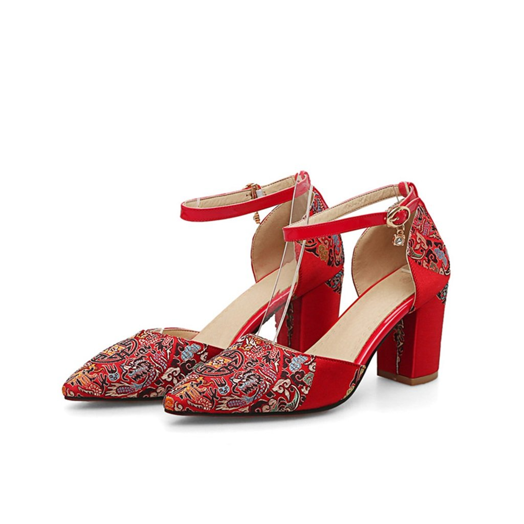 ALUS- Chinese - Embroidered red Wedding Shoes with Thick Shoes with Bride Shoes - Women's Wedding Shoes (Color : High 7.5cm, Size : 35-Shoes long225mm)