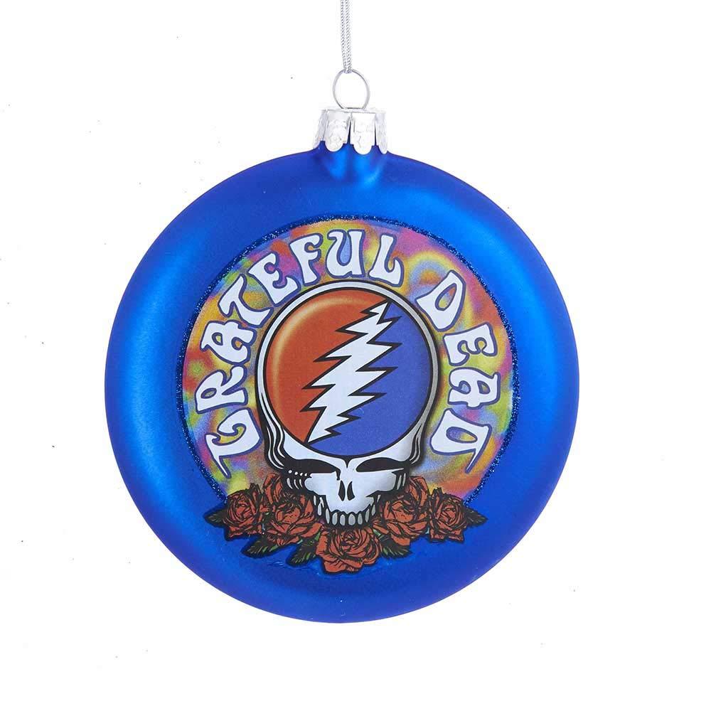 Kurt Adler Glass Grateful Dead Disc Ornament, 100mm GD4143