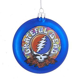 Grateful Dead Christmas Ornament.Kurt Adler Glass Grateful Dead Disc Ornament 100mm