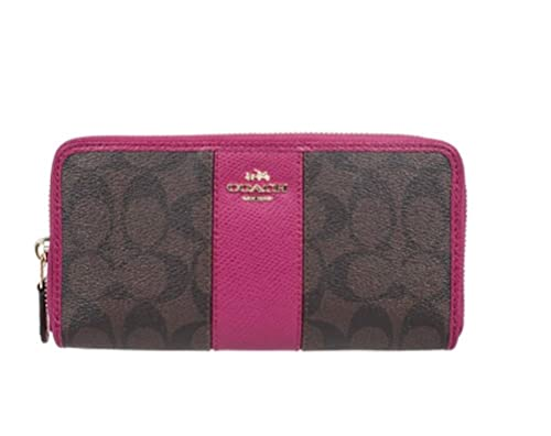 Coach 52859 Signature PVC Acordeón de piel con cremallera alrededor de cartera en marrón & Rosa
