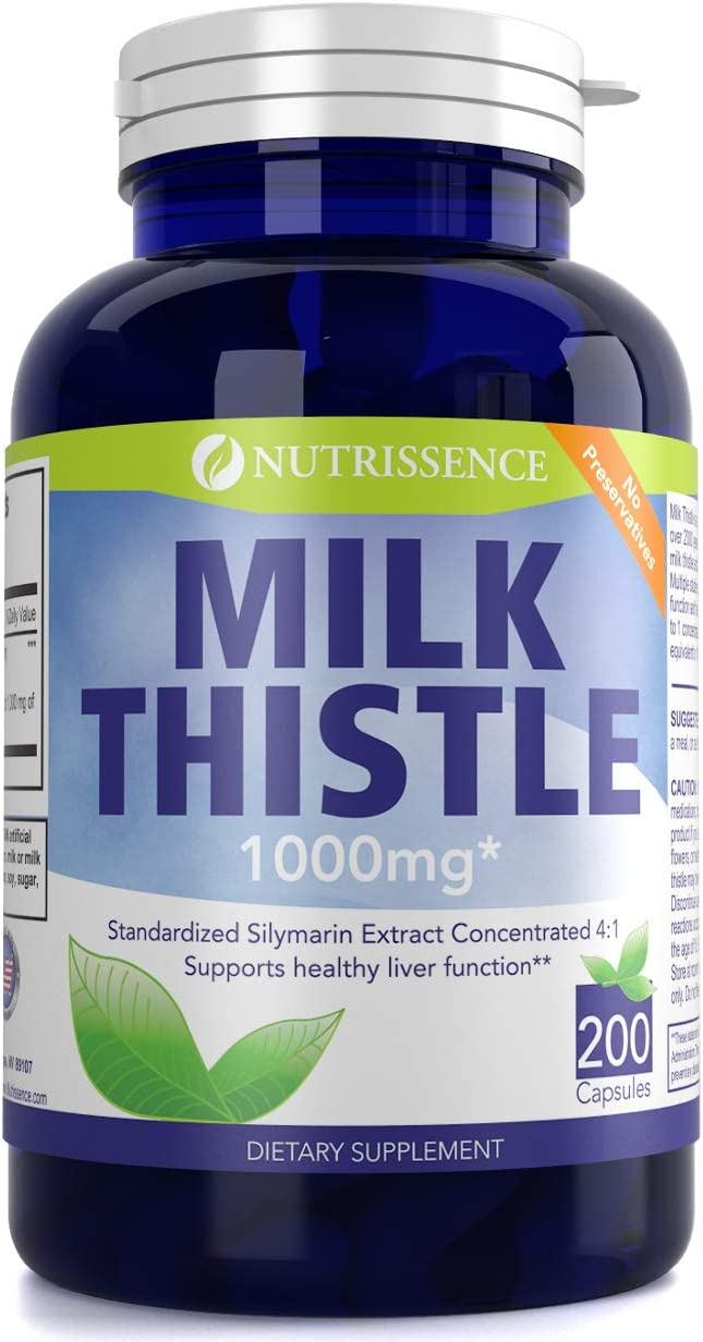 Milk Thistle 1000mg Equivalent – Silymarin – 200 Capsules – 250mg of Quadruple Strength, 4X Concentrated Standardized Extract – Nutrissence