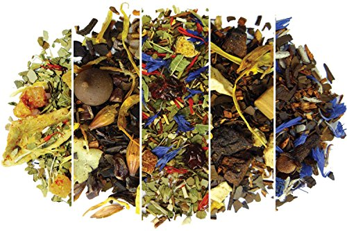Gourmet Loose Leaf - Yerba Mate Tea Sampler Assortment - Set of 5 Gourmet Loose Leaf Tea Sample Sizes - Great Gift Ideas and Coffee Substitute