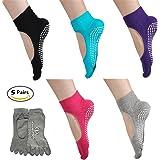 5 Pairs Toe Yoga Pilates Socks Non Slip Skid Barre Sock with Grips for Women & Men