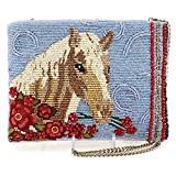 MARY FRANCES Buck Up Beaded Horse Theme Crossbody Zipper Top Handbag