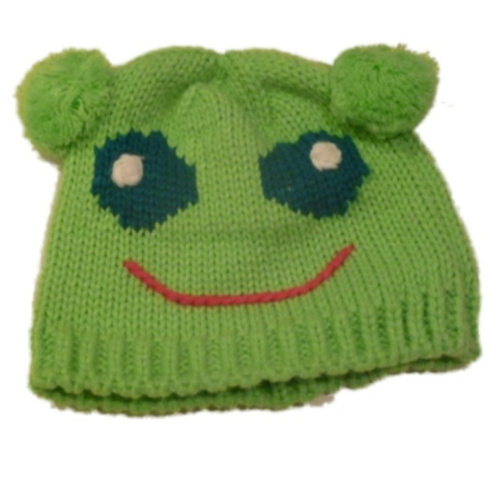 969ce0c0411 Amazon.com  Kid Connection Girls Hand Knit Green Frog Beanie Winter Hat  Stocking Cap Pom 4-6  Cold Weather Hats  Clothing