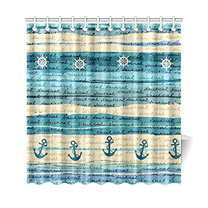 Interestprint Nautical Sea Ocean Home Bath Decor Vintage Anchor Blue Polyester Fabric Shower Curtain Bathroom Sets 69 X 72 Inches