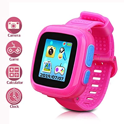 Kids Smart Watch Game Smartwatch with Mini Camera Alarm Clock Timer Health Monitor Pedometer Photo Sticker Learning Toys for Boys and Girls Age 3-12 yrs(Pink)