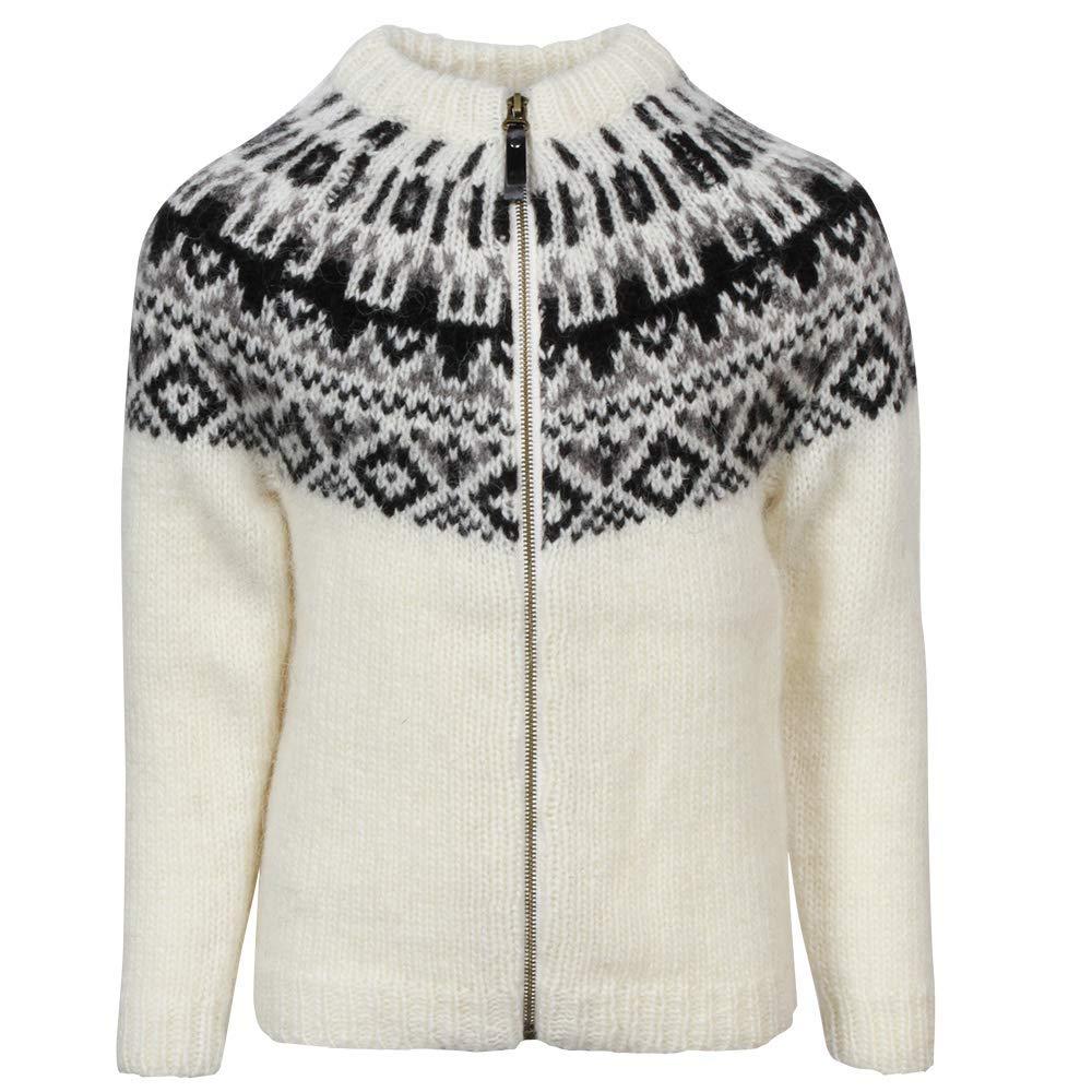 ICEWEAR Elmar Kid's Sweater Lopapeysa Design 100% Icelandic Wool Long Sleeve Crew Neck Winters Sweater with Full Zipper - White