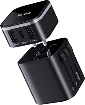 Amzdest Detachable Universal Travel Adapter with 3A Type-C & 2 USB