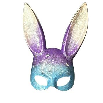 OULII Máscara de Conejo Masquerade Glitter Bunny Rabbit Máscara Disfraz para Pascua Halloween Cosplay Party Accesorio