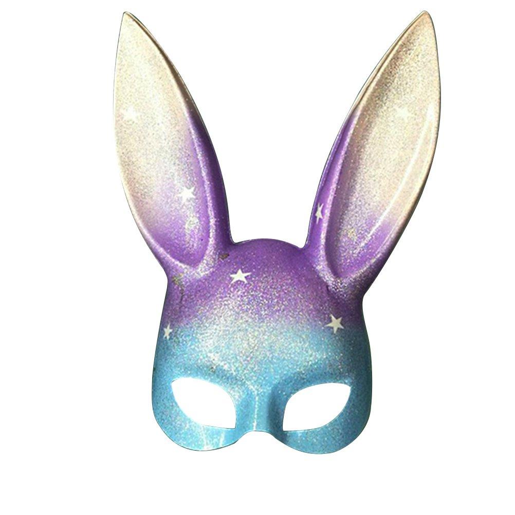 LUOEM Easter Bunny Mask Half Face Rabbit Mask Masquerade Mask Costume Accessory Rainbow Glitter