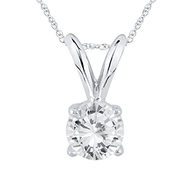 Amazon ags certified 13 carat round diamond solitaire ags certified 13 carat round diamond solitaire pendant in 14k white gold k l mozeypictures Choice Image