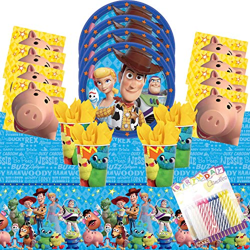 Toy Story 4 Party Supplies Pack Serves 16: Dinner Plates Luncheon Napkins Cups and Table Cover with Birthday Candles (Bundle for 16) -