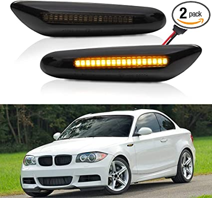 For 2002-2005 BMW E46 3-Series Smoke Lens LED Side Marker Lights Signal Lamps