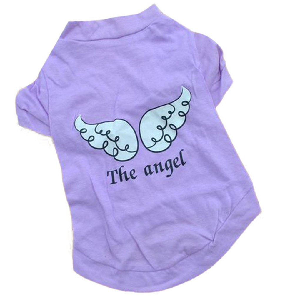 haoricu Pet Clothes, Summer The Angel Vest Cotton Pet Clothing Pet Costume Small Dog Cat Apparel Sleeveless T Shirt (S, Purple)