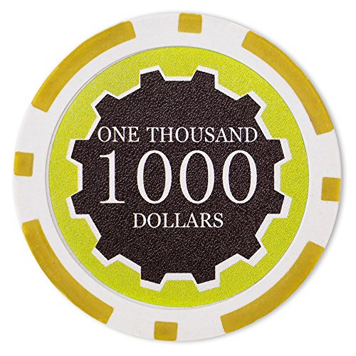 (Brybelly Eclipse Poker Chips Heavyweight 14-gram Clay Composite - Pack of 50 ($1000 Yellow))