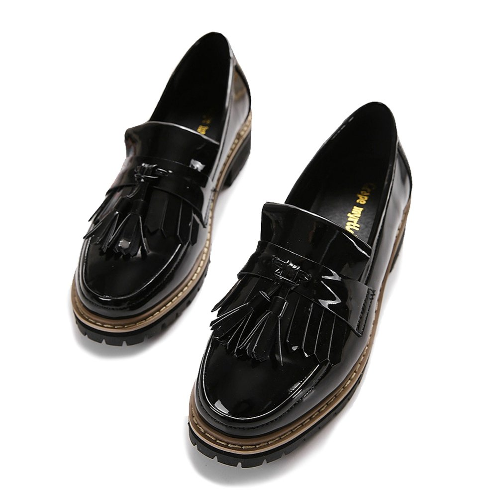Women's Flat Oxfords Shoes Tassel Slip On Mid Heel Casual Loafers