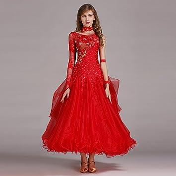 b9f0c94c85e3 Wanson Damen Standard Tanz Kleider Schnüren Spleißen Asymmetrisch Lange  Ärmel Große Schaukel Für den modernen Tanz