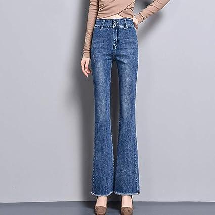 e9320d10b8177 Pantalones de cintura delgada de los pantalones vaqueros de la sección  delgada de los pantalones vaqueros