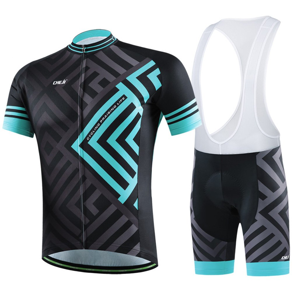 Men s Cycling Jersey and Bib Shorts Set Short Sleeve Bicycle Jersey Shirt+3D  Cushion Padded Riding Shorts Tights Pants Breathable Quick Dry Non Slip for  ... a7a81dccc