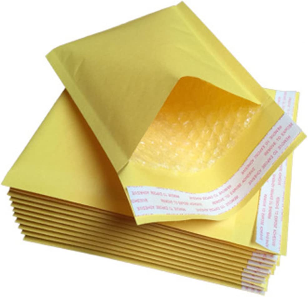 Ghair2 50pcs Gold Padded Bubble Envelopes Kraft Paper Envelopes bag,Sealed Air Postal Packing Mailing Shipping Postage Posting Self Seal Cushioned Protective Packaging 130 X 210mm,10PCS