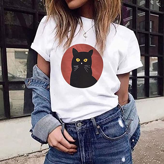 Severkill Cat Shirts for Women Vintage Crew Neck Short Sleeve Cute Kitty Print Loose Tops