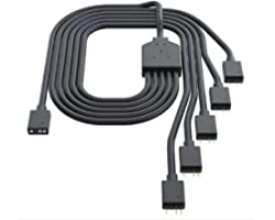 Cooler Master 1-to-5 ARGB Splitter Cable / 5V - Support 3-pin Addressable RGB - LED Sync Cable for MasterFan/MasterLiquid ARG