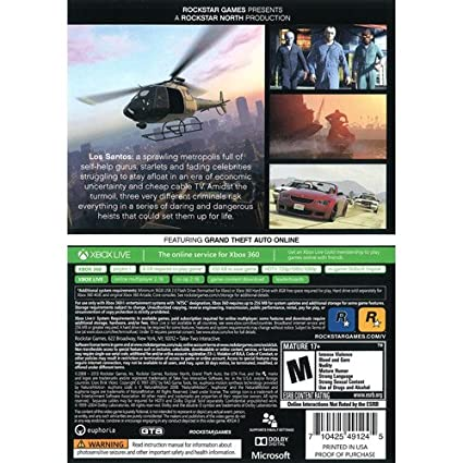 Amazon com: Rockstar Games Grand Theft Auto V (Xbox 360) - Pre-Owned