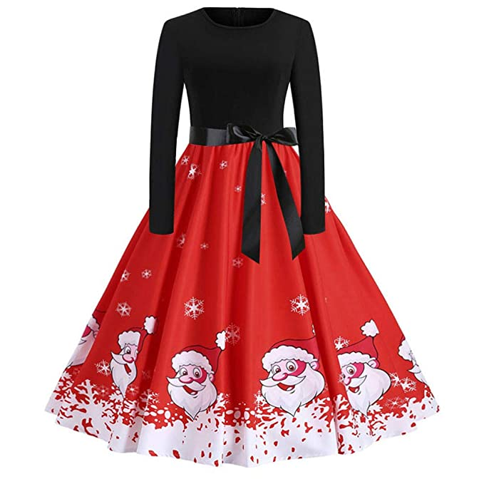 Christmas Series Dress-Womens Vintage Print Long Sleeve Christmas Evening Party Swing Dress at Amazon Womens Clothing store: