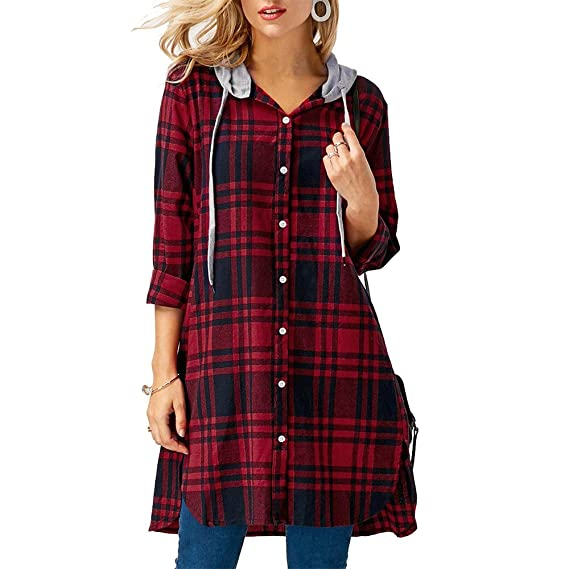 Darringls Abrigo de Invierno Mujer,Chaqueta Impresión a Cuadros Chaqueta a Cuadros Bolsillo Camiseta botón: Amazon.es: Ropa y accesorios