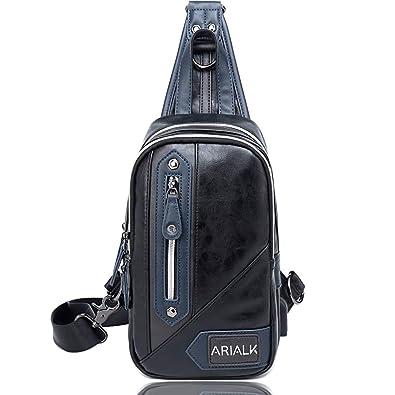 fdeb2fabee99 ARIALK 斜めがけ ボディバッグ メンズ バッグ レザー ワンショルダー バック 肩掛けバッグ iPadmini USB 通勤